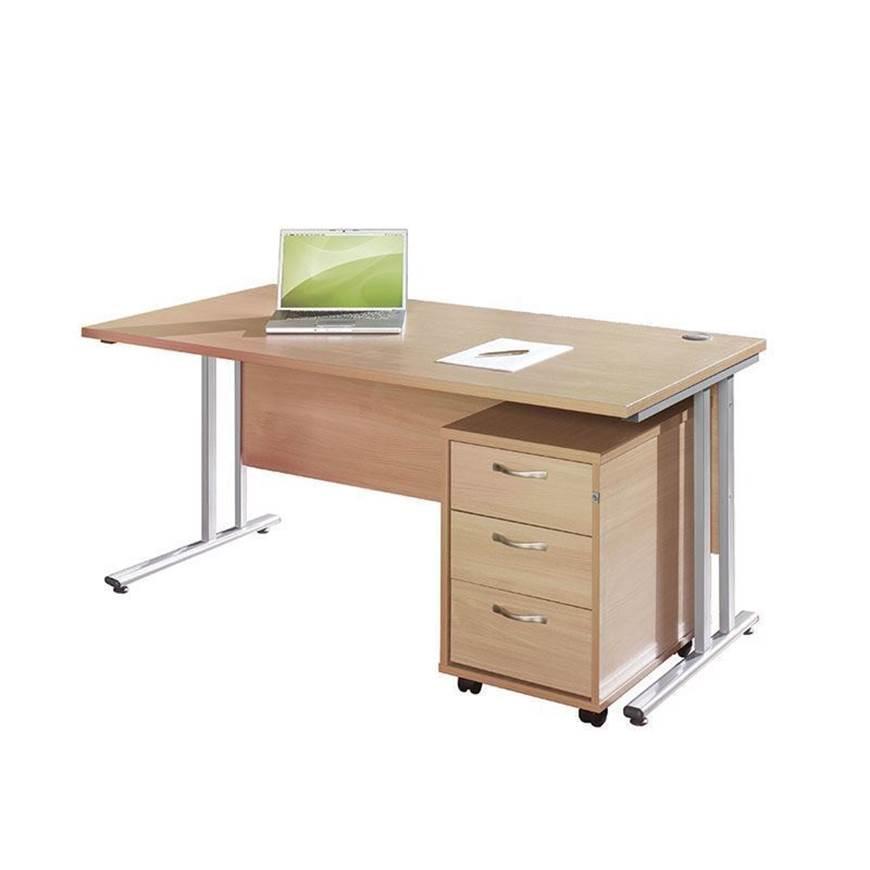 Picture of Maestro Desking - Straight Desk Bundle with 3 Drawer Pedestal - Walnut Worktop